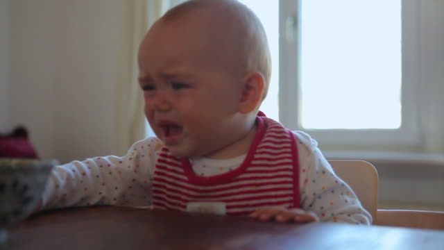 stockvideo's en b-roll-footage met cu mother feeding distraught baby daughter (6-11 months) at dining table, berlin, germany - duitsland
