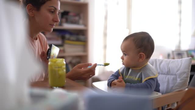 vídeos de stock, filmes e b-roll de matriz que alimenta o bebé feliz com uma colher completamente da erva-benta vegetal - alimentando