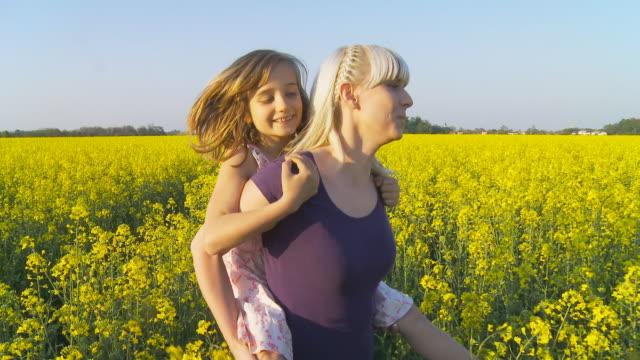 hd costante scatto: madre dando piggyback giro nel campo - portare a cavalluccio video stock e b–roll