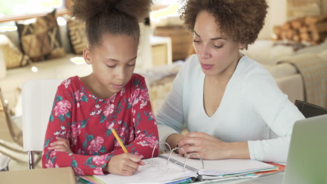 mother helping daughter with homework - homework stock videos & royalty-free footage