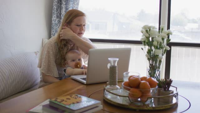 mother holding baby as she works on the computer - working mother stock videos and b-roll footage