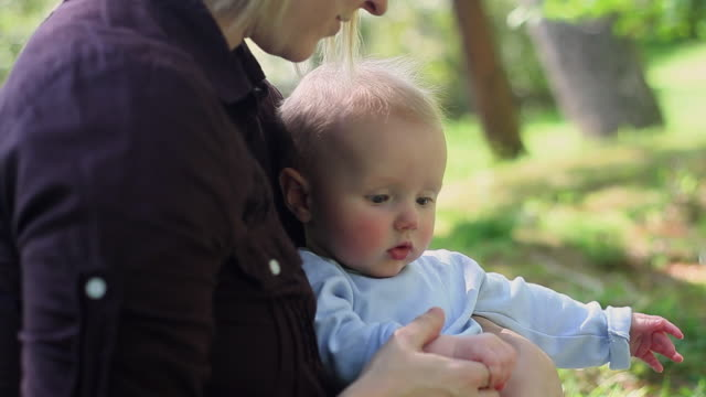 cu mother holding baby (2-5 months) in park / richmond, virginia, usa - 2 5 months stock videos & royalty-free footage