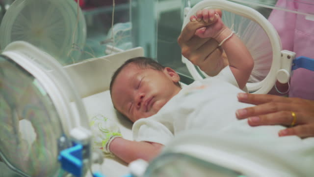 mother holding newborn baby's finger  in incubator - newborn stock videos & royalty-free footage