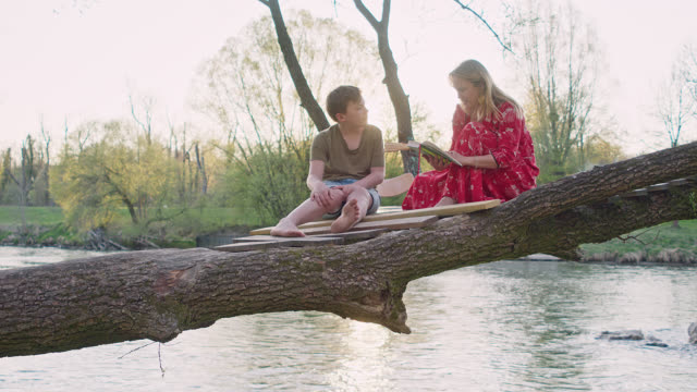 mother in her 40's and her 12 years old cute son sitting on tree house above a river reading a book together. - 12 13 years stock videos & royalty-free footage