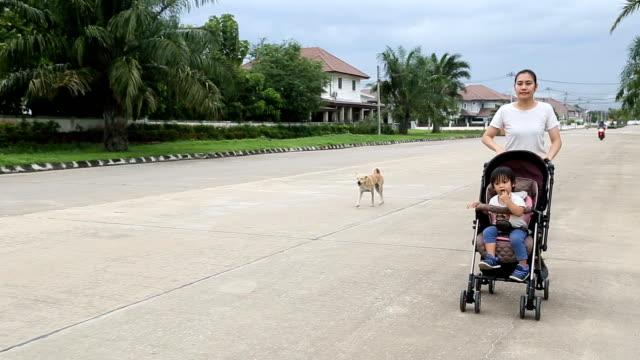 vídeos y material grabado en eventos de stock de madre corriendo con el niño en la carriola. - cochecito de bebé