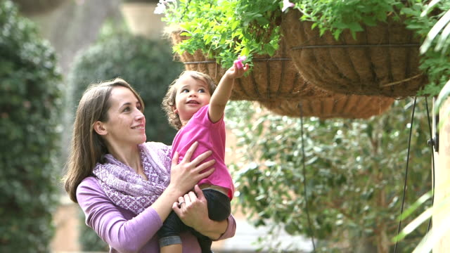 mother, little girl playing with flower from hanging pot - flower pot stock videos and b-roll footage