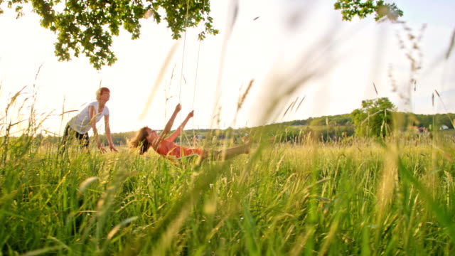 slo mo mother pushing her daughter on tree swing - swinging stock videos & royalty-free footage