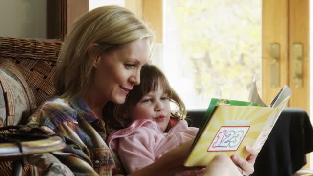 ZI CU Mother reading to daughter (4-5) / Cedar Hills, Utah, USA