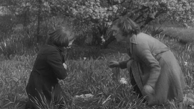 1941 montage a mother rubbing a duck leaf on a child's nettle sting as an anti-toxin / united kingdom - diphtherie stock-videos und b-roll-filmmaterial