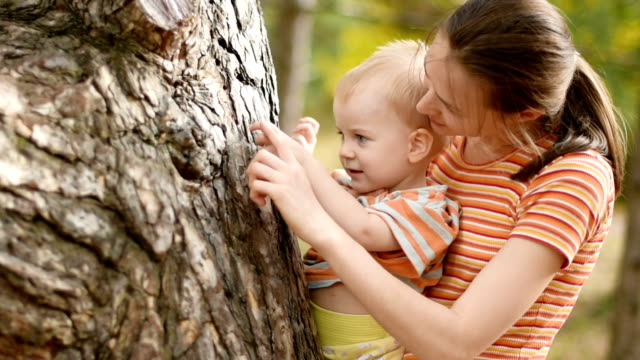 mother standing with little baby in her arms near old tree - touching stock videos & royalty-free footage