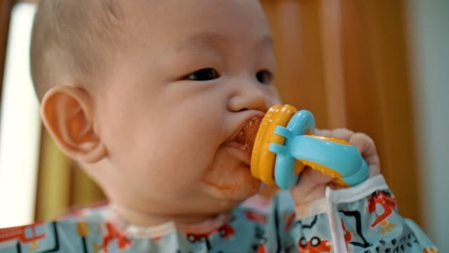 mother taking selfie with baby son while he eating fruit - tutina video stock e b–roll