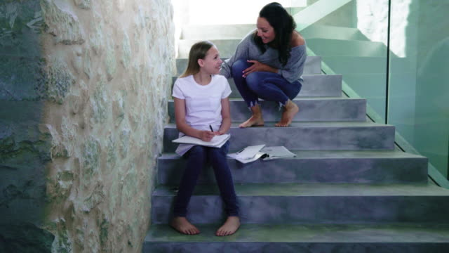 mother talking to daughter - staircase stock videos & royalty-free footage