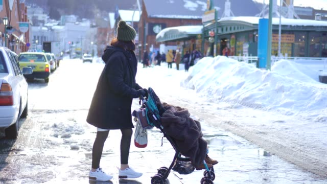 mother walking with baby stroller - carriage stock videos & royalty-free footage