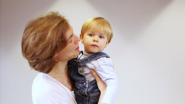 ms mother with baby boy (18-23 months) in studio / brussels, belgium - 18 23 months stock videos & royalty-free footage