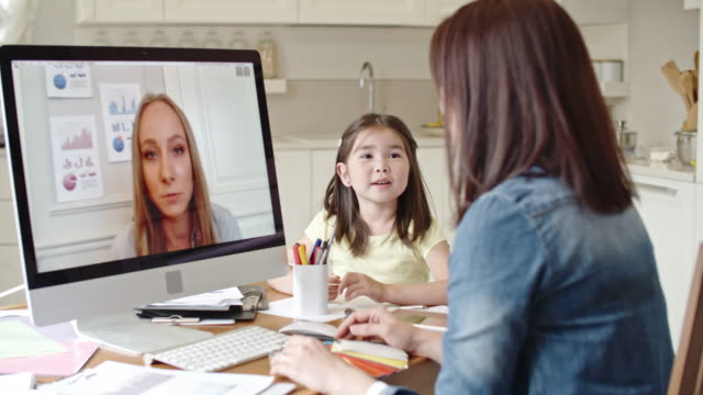 vídeos y material grabado en eventos de stock de mother working from home via video call - hija