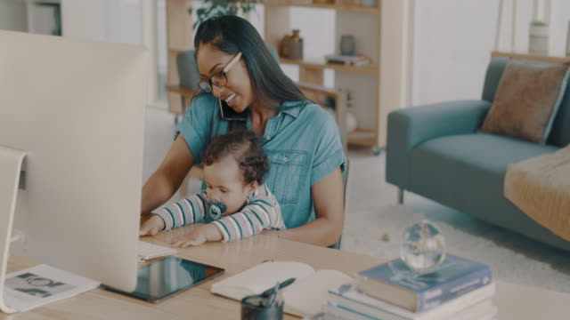 motherhood is a full time job - home office stock videos & royalty-free footage