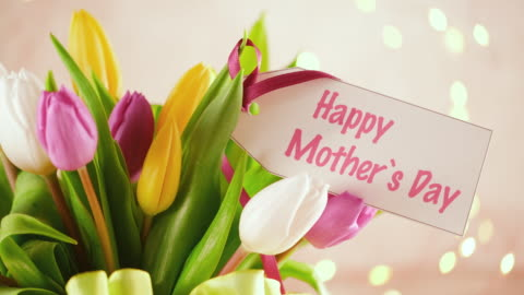 mother`s day arrangement with tulip bouquet and a greeting card - mother's day stock videos & royalty-free footage