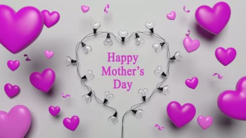 mother's day card with pink hearts and lights - mother's day stock videos & royalty-free footage