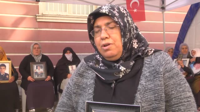 mothers songul altintas and hatice levent speak to the press during the ongoing sitin protest in front of the provincial office of the peoples'... - back to front stock videos & royalty-free footage