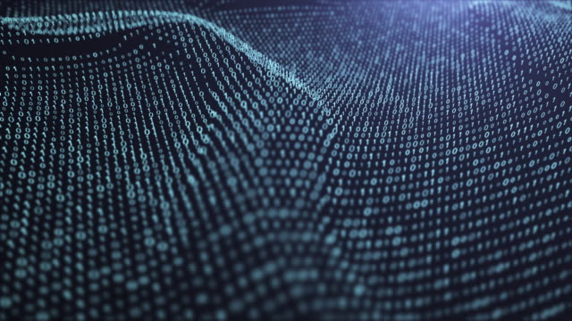 motion abstract background ,technology abstract background, digital binary data wave loop background,technology wire frame futuristic - cloud computing stock videos & royalty-free footage