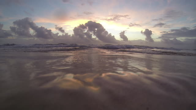 motion capture shot from sand level at the ocean's edge in tulum, mexico at sunset - riva dell'acqua video stock e b–roll