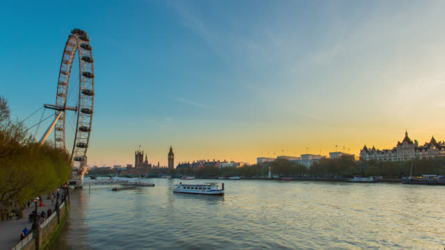 Motion controlled day to night time lapse footage of sunset over River Thames and London skyline with Houses of Parliament and London Eye.