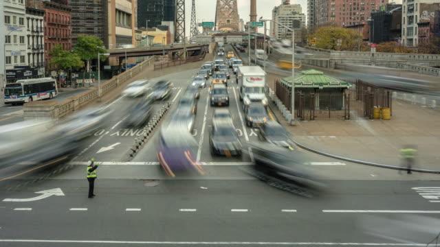Motion controlled tilt up time lapse. Long exposure, slow shutter, motion blur. Traffic Ed Koch Queensboro 59th Street Bridge. Nyc Manhattan.