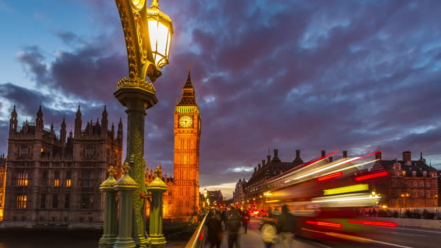 Motion controlled time lapse footage of evening rush hour traffic on Westminster Bridge in London.