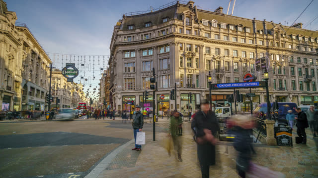 Motion controlled timelapse sequence of commuters during Christmas period in London's Oxford Circus shot on 12th December 2017