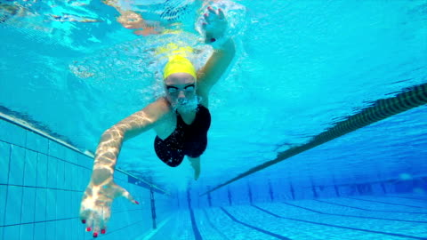 hd motion effect: underwater shot of young women swimming front crawl - length stock videos & royalty-free footage