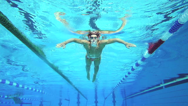 HD Motion effect: Young Man Swimming Breaststroke Outdoors