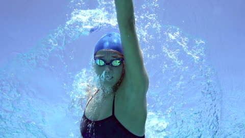 hd motion effect: young women swimming front crawl - swimming goggles stock videos & royalty-free footage