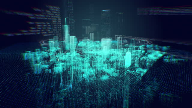 motion graphic of hologram modern city, futuristic technology digital urban design. ai and smart city concept - digital display stock videos & royalty-free footage