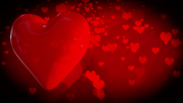 Motion graphic of rotating 3D red hearts