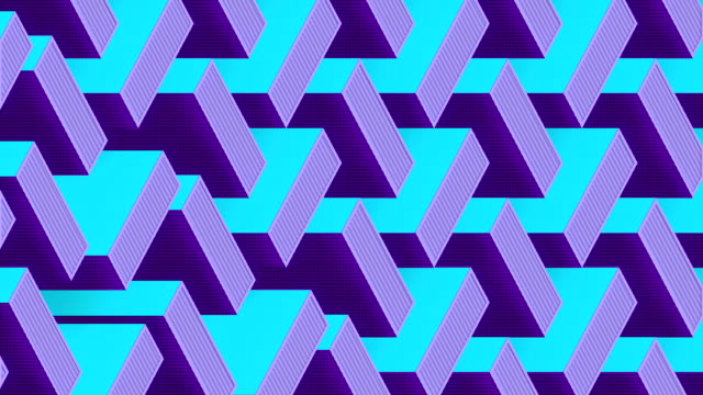 motion graphic template with multi colored isometric moving pattern. 3d rendering digital seamless loop animation. hd resolution - repetition stock videos & royalty-free footage