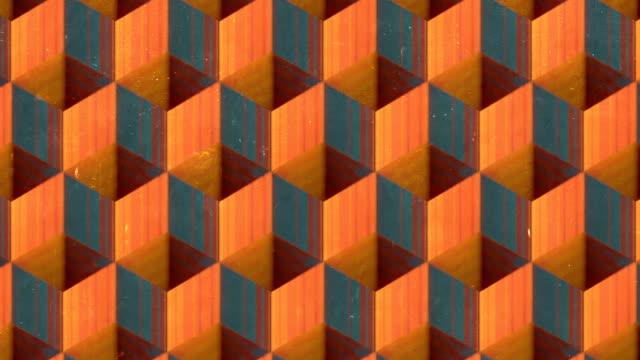古い傷付きサーフェス上のモーション ライン アート パターン。抽象的なモザイクの背景。被写界深度。3d レンダリングシームレス ループ アニメーション。4k、ウルトラhd解像度 - 投影図点の映像素材/bロール