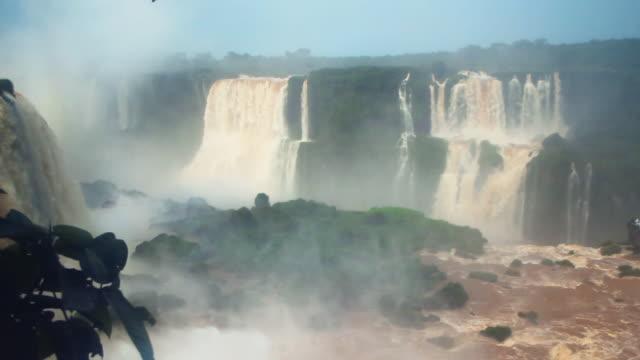 Motion overview of main waterfalls at Iguazu falls