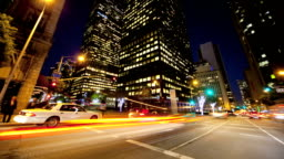 Motion Panning Time lapse Night City Traffic and Pedestrians