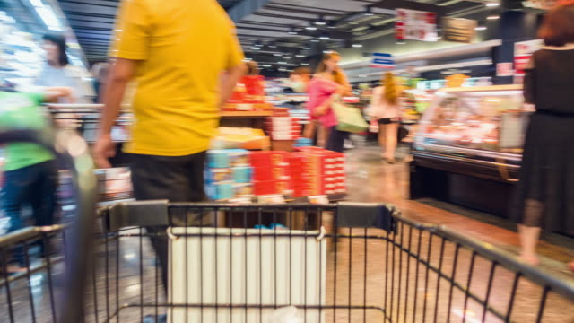 motion shopping in a supermarket. - retail stock videos and b-roll footage
