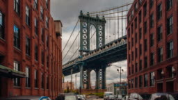 Motion time lapse hyperlapse of Manhattan bridge from Washington street, Brooklyn, New York, USA