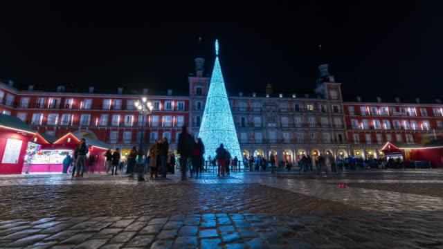 Motion Time lapse of christmas market in Plaza Mayor, Madrid