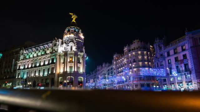 Motion Time Lapse of the Christmas lights in Madrid
