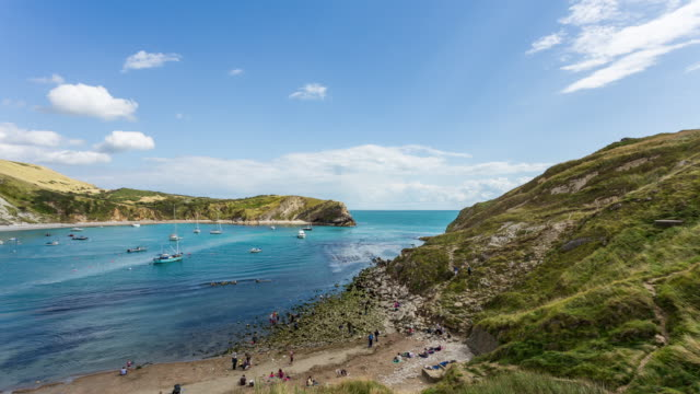 West Lulworth - Circa 2014: Motion Time Lapse of West Lulworth Cove during a sunny day of summer