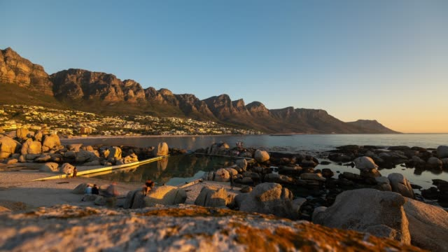 Motion Timelapse at sunset of the iconic Camps Bay in Cape Town