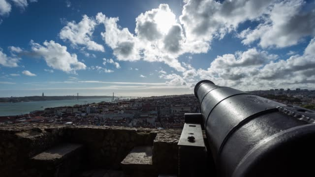 Motion Timelapse from S. Jorge Castle looking at 25 de Abril Bridge in Lisbon