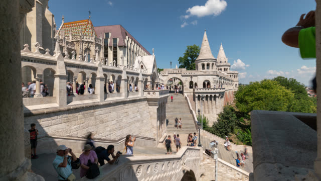 motion timelapse inside the fisherman's bastion in budapest - hungary stock videos & royalty-free footage