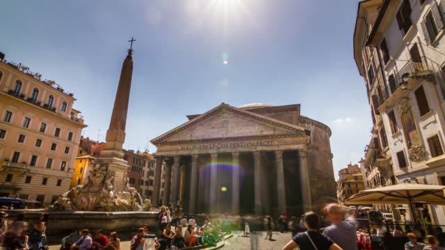 Motion timelapse of ancient Pantheon church with people crowd at the Piazza della Rotonda (city square). Rome, Italy. April, 2016.