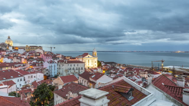 Motion Timelapse (hyperlapse) of cloudy sunrise over the Alfama - Lisbon old town. Portugal. April, 2017