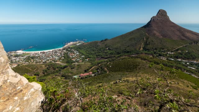 Motion Timelapse of Lion's Head and Camps Bay in a sunny day