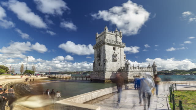 motion timelapse (hyperlapse) of the belem tower of lisbon, portugal. april, 2017 - portugal stock-videos und b-roll-filmmaterial